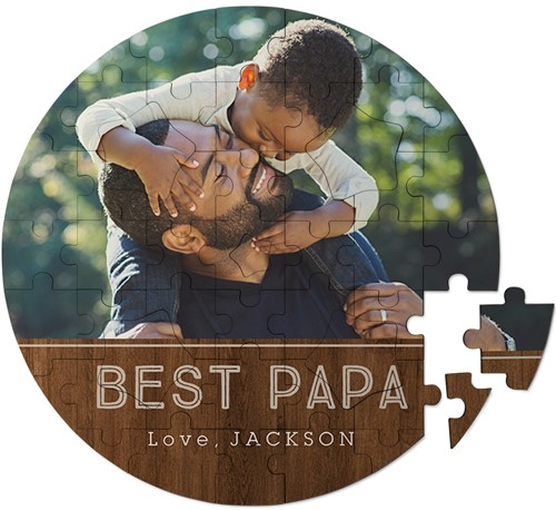 circle keepsake puzzle with son and dad with best papa message